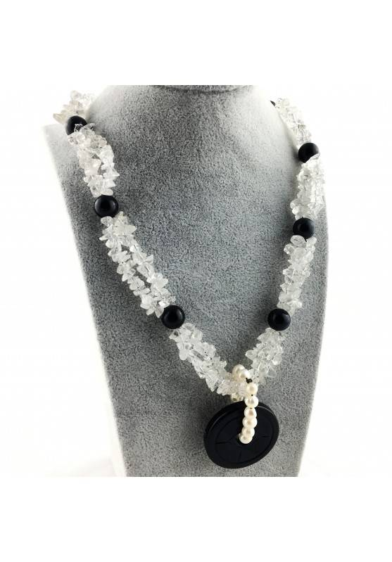 Wonderful Necklace in Black ONIX Hyaline Quartz PEARL Collier MINERALS Jewels A+-1