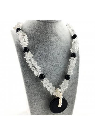 Wonderful Necklace in Black ONIX Hyaline Quartz PEARL Collier MINERALS Jewels A+-1