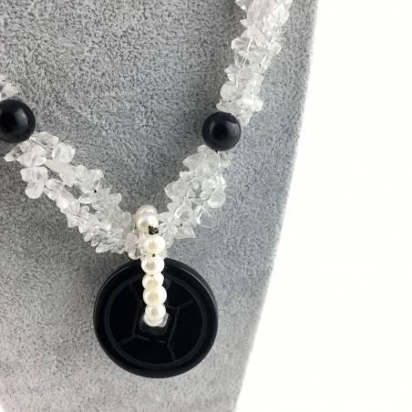 Wonderful Necklace in Black ONIX Hyaline Quartz PEARL Collier MINERALS Jewels A+-2