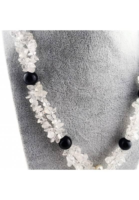 Wonderful Necklace in Black ONIX Hyaline Quartz PEARL Collier MINERALS Jewels A+-3