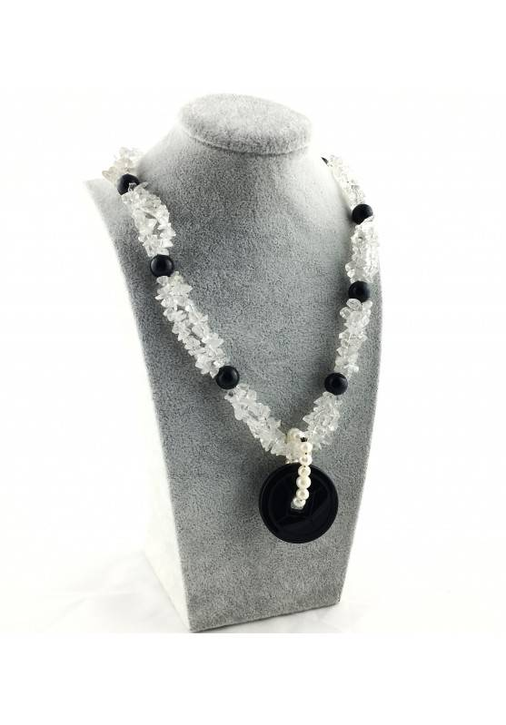 Wonderful Necklace in Black ONIX Hyaline Quartz PEARL Collier MINERALS Jewels A+-4