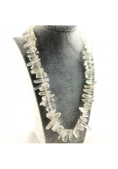 Wonderful Necklace in Hyaline Quartz Double Terminated Rock CRYSTAL Crystal A+-1