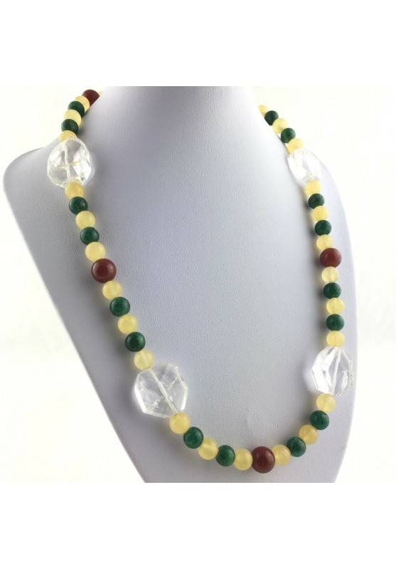 Excellent Necklace in PURE Hyaline Quartz ROCK CRYSTAL CARNELIAN CALCITE-1