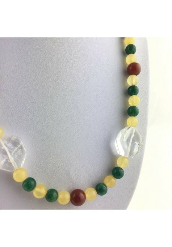 Excellent Necklace in PURE Hyaline Quartz ROCK CRYSTAL CARNELIAN CALCITE-2