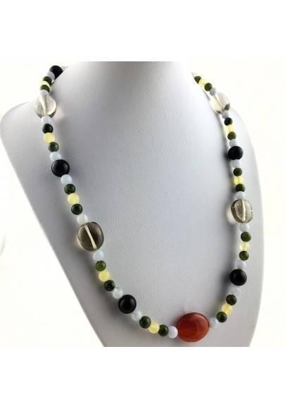 Wonderful Necklace in CARNELIAN Black ONIX Hyaline Quartz Chalcedony JADE CALCITE-1