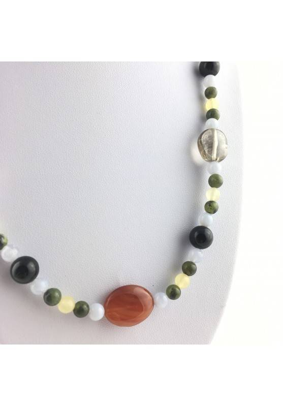 Wonderful Necklace in CARNELIAN Black ONIX Hyaline Quartz Chalcedony JADE CALCITE-2