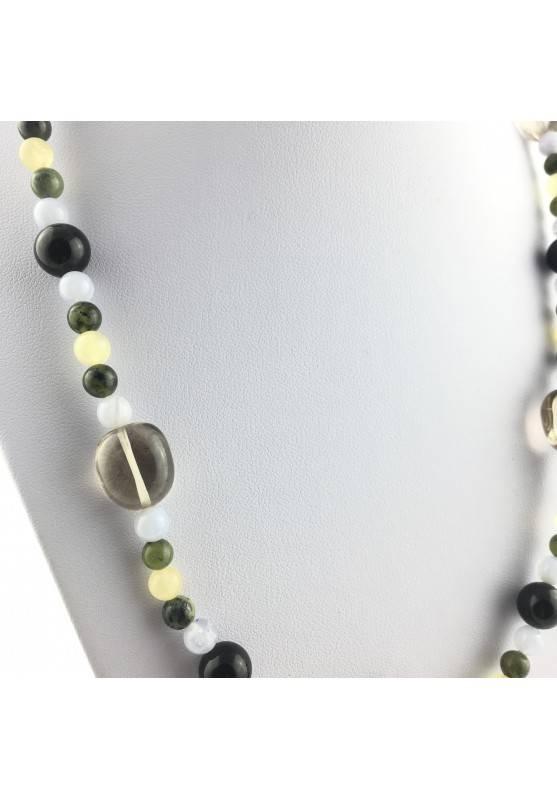 Wonderful Necklace in CARNELIAN Black ONIX Hyaline Quartz Chalcedony JADE CALCITE-3