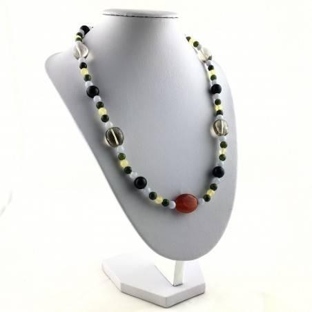 Wonderful Necklace in CARNELIAN Black ONIX Hyaline Quartz Chalcedony JADE CALCITE-4