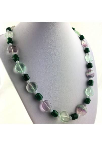 Wonderful Necklace in Rainbow Purple Fluorite Green Blue Aventurine CHALCEDONY A+-1