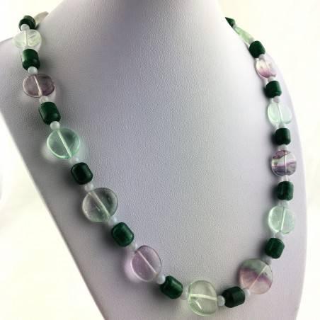 Wonderful Necklace in Rainbow Purple Fluorite Green Blue Aventurine CHALCEDONY A+-1