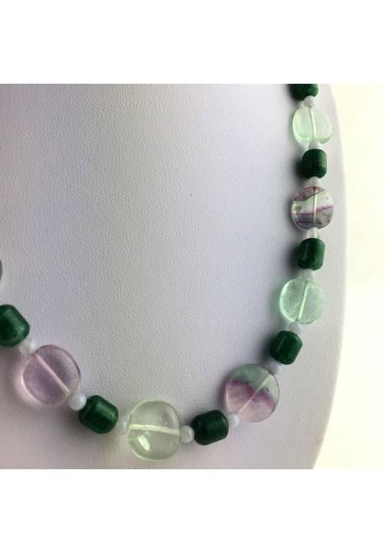 Wonderful Necklace in Rainbow Purple Fluorite Green Blue Aventurine CHALCEDONY A+-2