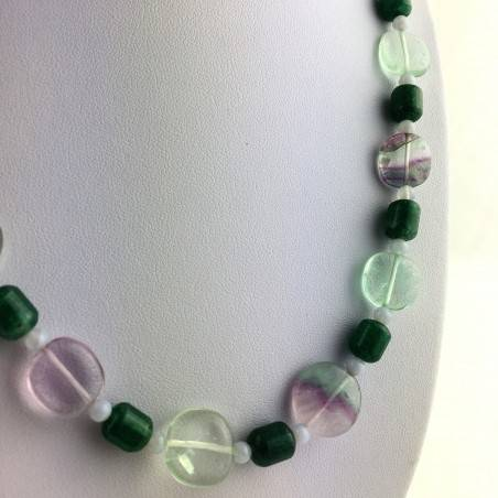 Wonderful Necklace in Rainbow Purple Fluorite Green Blue Aventurine CHALCEDONY A+-2