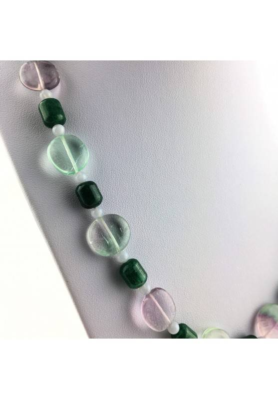 Wonderful Necklace in Rainbow Purple Fluorite Green Blue Aventurine CHALCEDONY A+-3