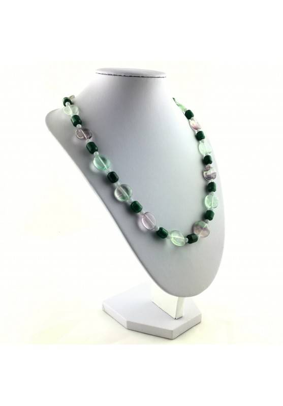 Wonderful Necklace in Rainbow Purple Fluorite Green Blue Aventurine CHALCEDONY A+-4