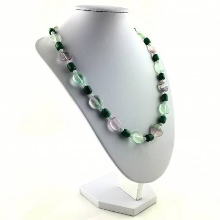 Wonderful Necklace in Rainbow Purple Fluorite Green Blue Aventurine CHALCEDONY A+-4