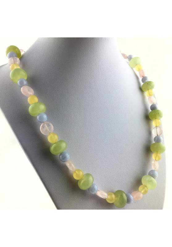 Wonderful Necklace in JADE Rose Quartz YELLOW CALCITE BLUE CHALCEDONY Chakra Zen-1