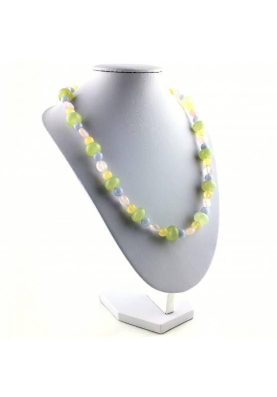 Wonderful Necklace in JADE Rose Quartz YELLOW CALCITE BLUE CHALCEDONY Chakra Zen-4