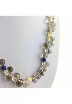Magnifica Necklace in Smoked QUARTZ Rock CRYSTAL Lapis Lazuli CALCITE A+-3