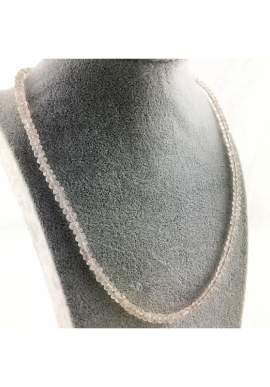 Finissima COLLANA in QUARZO ROSA Sfaccettato Minerali Alta Qualità Chakra Zen A+-1