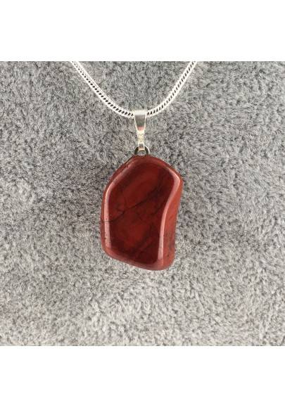 Beautiful Pendant in RED Jasper Tumbled Necklace MINERALS Quality Chakra-1