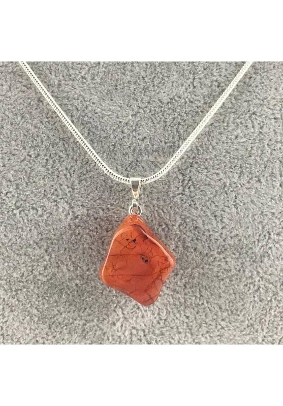 Ciondolo in CORNIOLA ROSSA Burattata COLLANA Alta Qualità Minerali Chakra Zen A+-1