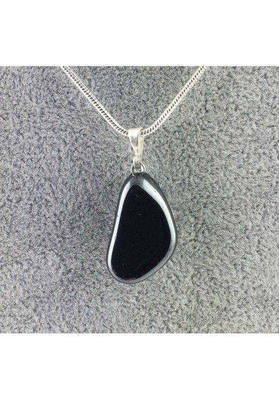 Excellent Pendant in HEMATITE Tumbled Black Polished Necklace High Quality A+ Chakra-1