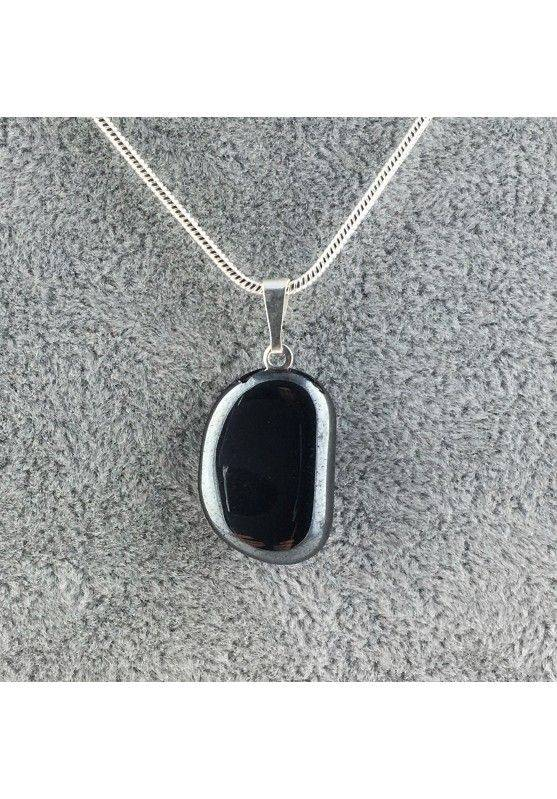 Excellent Pendant in HEMATITE Tumbled Black Polished Necklace High Quality A+ Chakra-2