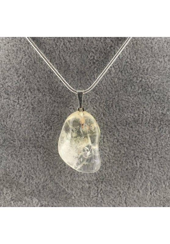 Ciondolo in QUARZO IALINO Puro Burattato Trasparente COLLANA Minerali Chakra A+-1