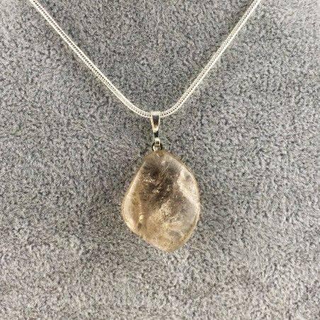Ciondolo in QUARZO FUMè Burattato Trasparente COLLANA Minerali Chakra Reiki Zen-1