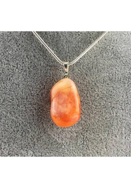 Ciondolo in AGATA CORNIOLA Burattata Rossa COLLANA Minerali Alta Qualità Zen A+-1