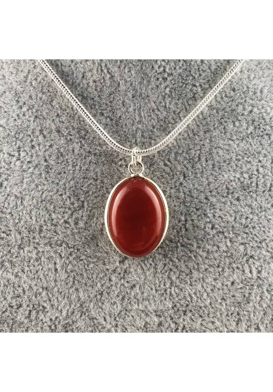 Pendant in CARNELIAN AGATE Cabochon Tumbled Stone Necklace MINERALS Chakra Reiki A+-1