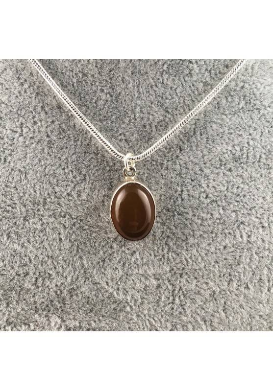 Pendant in CARNELIAN on VINTAGE SILVER Necklace MINERALS High Quality A+-1