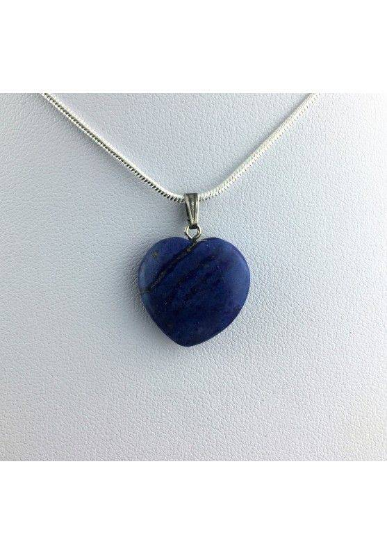 LAPIS LAZULI Pendant Heart On VINTAGE SILVER Necklace MINERALS-1