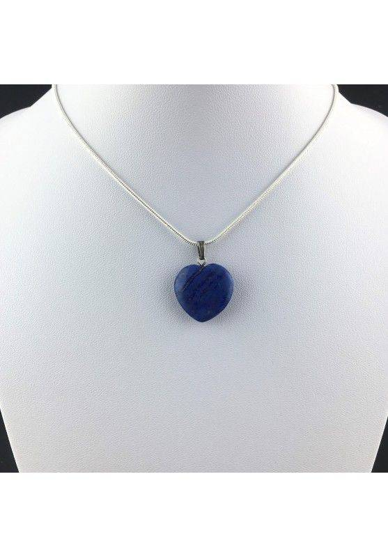 LAPIS LAZULI Pendant Heart On VINTAGE SILVER Necklace MINERALS-2