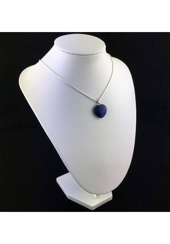LAPIS LAZULI Pendant Heart On VINTAGE SILVER Necklace MINERALS-3