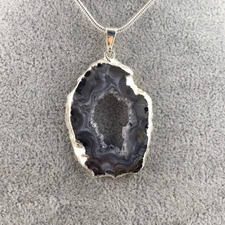 Beautiful Pendant in GEODE AMETHYST AGATE SLICE Necklace MINERALS Chakra A+-2