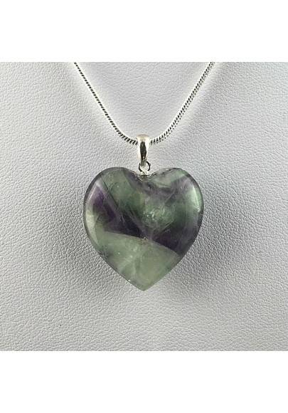 Rainbow FLUORITE Heart Pendant on Sterling Silver 925 Necklace MINERALS High Quality A+-1