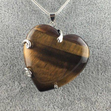 Tiger Eye's Heart Pendant Minerals Handmade Crafts Necklace Chain Charm Healing  A+-1