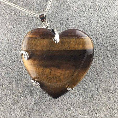 Tiger Eye's Heart Pendant Minerals Handmade Crafts Necklace Chain Charm Healing  A+-2