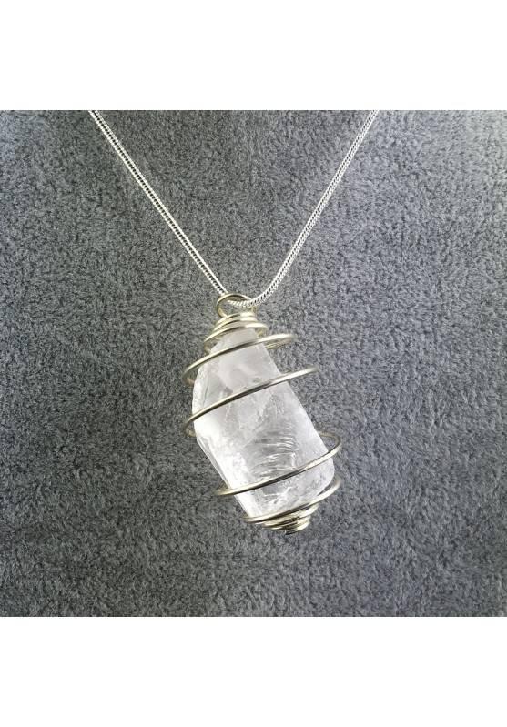Ciondolo QUARZO IALINO Montato Artigianalmente Spirale Placcata Argento Collana-1