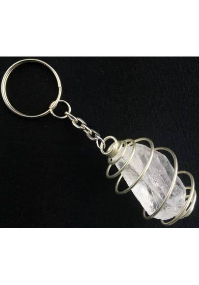Hyaline QUARTZ Keychain Keyring Handmade Silver Plated Spiral A+-1
