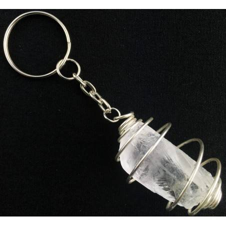 Hyaline QUARTZ Keychain Keyring Handmade Silver Plated Spiral A+-2