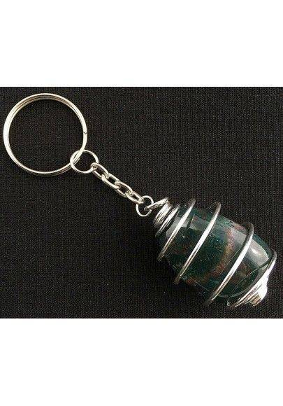 Heliotrope Bloodstone Keychain Keyring Handmade Silver Plated Spiral Necklace-2