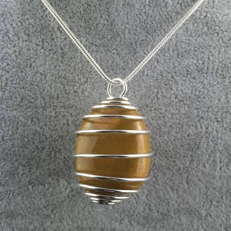Ciondolo DIASPRO MOOKAITE Montato Artigianalmente Spirale Placcata Argento A+-2