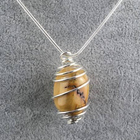 MOOKAITE Jasper Pendant Stone Tumble Handmade Silver Plated Spiral A+-3