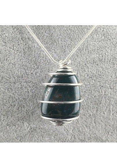 Pendant in Heliotrope Bloodstone Handmade Silver Plated Spiral Necklace-2