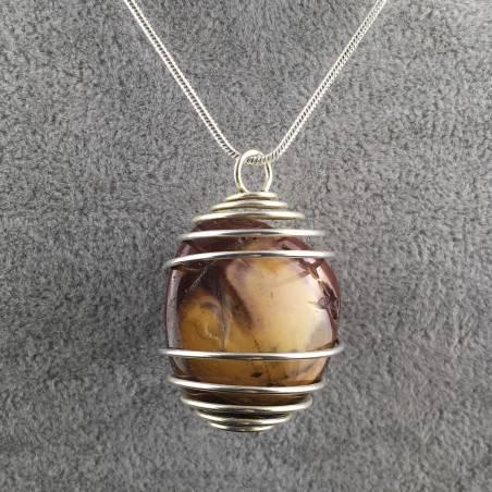 MOOKAITE Jasper Pendant Stone Tumble - LEO GEMINI PISCES Zodiac Silver A+-1