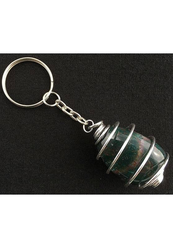 Heliotrope Bloodstone Keychain Keyring - ARIES Zodiac Necklace Hand Made on Silver-2