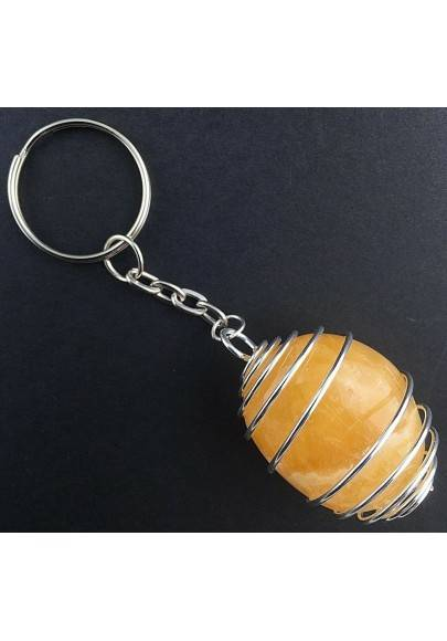YELLOW CALCITE Keychain Keyring Hand Made on Silver Plated Spiral-1