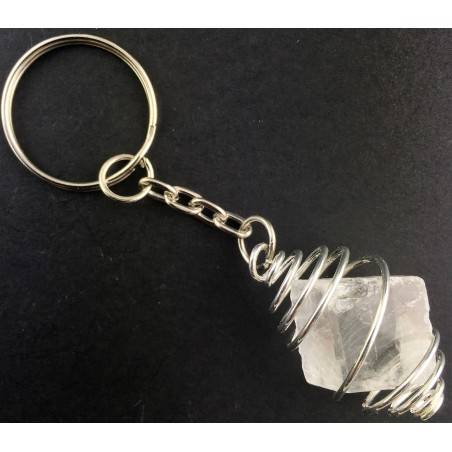 Rough CALCITE Iceland Spar Keychain Keyring with Silver Plated Spiral A+-2